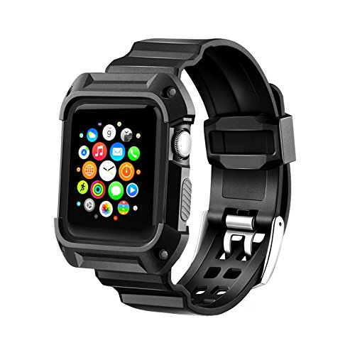 Compatible Apple Watch Band with Case 38mm, MAIRUI Rugged Protective G-Shock Replacement Strap Wristband for Apple Watch Series 3/2/1, iWatch Nike+/Sport/Edition (Black)