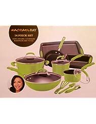 Rachael Ray Green Lime Cookware Set Pots Pans 14 Pieces