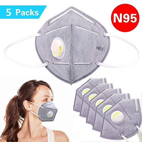 Disposable Dust Mask, N95 Particulate Respirator Face Masks with Breathing Valve Filter 5 Layer Protection Activated Carbon PM2.5 Anti Pollution Flu Masks Non-woven Earloop Mouth Mask , Pack 0f 5 Pcs