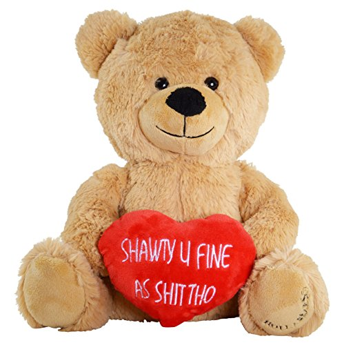 Hollabears Shawty U Fine As Shit Tho Teddy Bear - Funny and Cute Valentine's Day Gift for Girlfriend, Boyfriend or Best Friends (Best Valentine Gift For Boys)