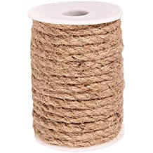 Junxia Natural Strong Jute Rope 32 Feet 6 mm Hemp Rope Cord For Crafts DIY Decoration Toy Gift Wrapping (6 mm)