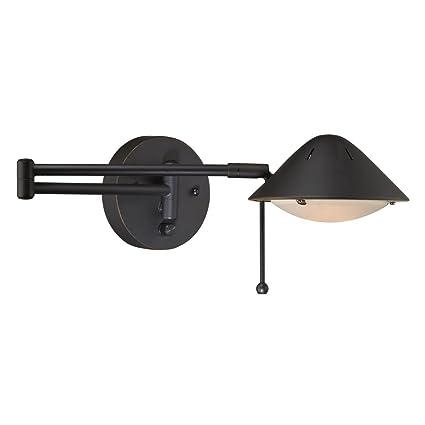 led bronze plug in swing arm wall lamp amazon com