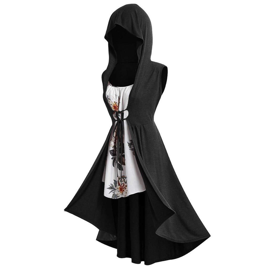 Pocciol_Womens Blouse Womens Vintage Cloak Plus Size Long Hooded Front Tie Vest with Floral Cami Top by Pocciol_Womens Blouse