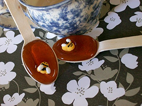 Gourmet Clover Honey Spoons (12) Beverage Sweetener Bumble Bee Embellished CUTE by Fuzzy Ducks Gourmet Confections