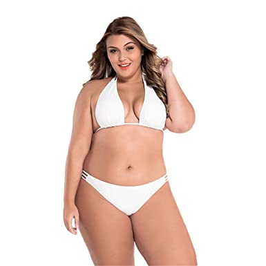 0e0a6e50677ea Amazon.com: Womens Plus Size Teeny Triangle Halter Top Two Piece Bikini Set  Swimsuit: Clothing