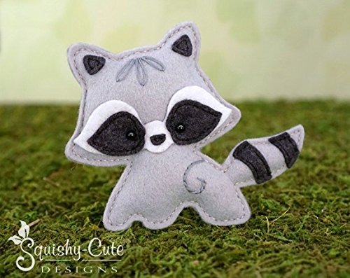 Raccoon Sewing Pattern - Woodland Stuffed Animal Felt Plushie Pattern & Tutorial (Stuffed Felt)