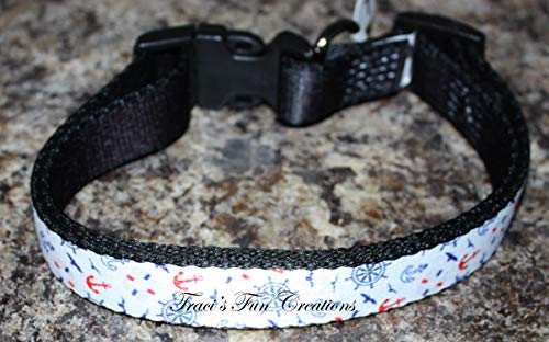 Nautical Personalized Dog Collar, Custom Collars w/Pet Name & Phone Number]()