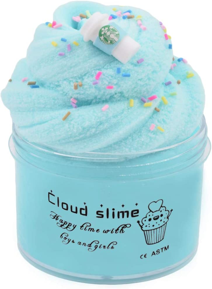 HappyTimeSlime Macaroon Latte Cloud Slime,Non-Sticky and Super Soft Scented Slime,Candy Slimes with Cute Charm,Stress Relief Toy 8oz 200ml
