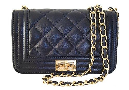 Sa-Lucca italienische Handtasche blau gesteppt mit Ketten Damentasche Ledertasche Schultertasche Kalbsleder MADE IN ITALY