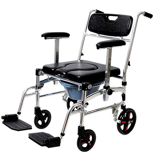 - Nurth 4 in 1 Chair Shower Commode Mobile Chair Commode/Shower Wheelchair Padded Toilet Seat Shower Transport Chair with 4 Brakes, Removable Pedal, Adjustable armrest, PU Commode Seat and Pail 220lb