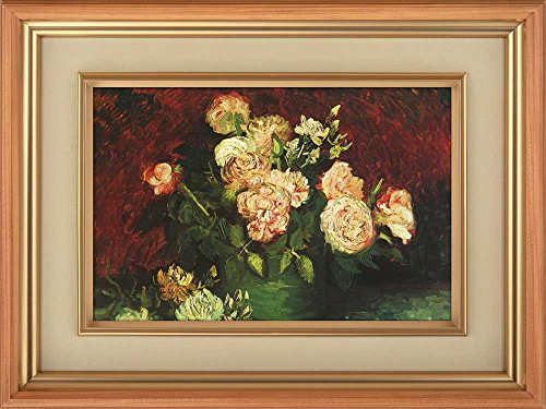 Creative 3D Visual Effect Wall Mural Bowl With Peonies And Roses by Vincent Van Gogh Peel Stick Wall Decor
