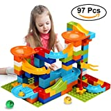 COUOMOXA Marble Run Building Blocks Construction Toys Set Puzzle Race Track for Kids Marble Roller Coaster -97 Pieces(2 in 1)
