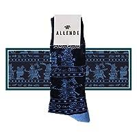 Allende MX Par de Calcetines de diseño 'Mural Azteca' artesanal mexicano unisex maquilado en Puebla