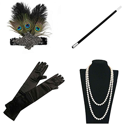 1920s 30s Gatsby Flapper Costume Accessories Feather Headband Earrings Pearl Necklace Gloves Cigarette Holder (Las Vegas Themed Prom)