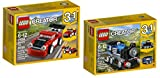 LEGO CREATOR 3 in 1 Red Racer AND LEGO CREATOR Blue Express BUNDLE - Perfect For Stocking Stuffers