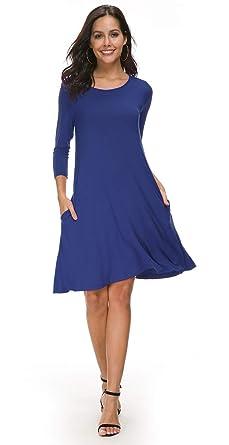 105ec3ec67fc Coreal Women s Plain 3 4 Sleeve Pockets Pleated Loose Swing Casual Midi  Dress Blue S