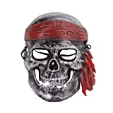 BXT Pirate Skull Skeleton Full Face Make Halloween Creepy Party Cosplay Porps Silver