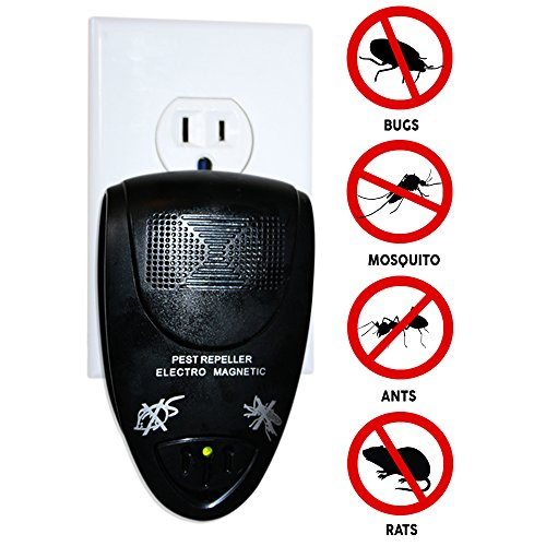 Natural Ultrasonic Rodent Repeller Controls Home Pests - Mice, Ant, Spider, Cockroach, Mosquito and Mouse Repellent - (1, Black)