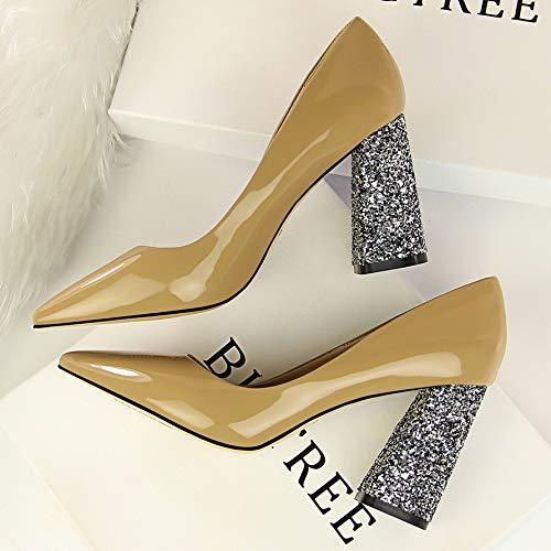 De zapatos con Negro Boca Alto Negro Grueso De Mujer Salvaje Poco Charol tacón alto Profunda De De Zapatos Amarillo Zapatos de Otoño Tacón Yukun 39 Zapatos Khaki Verano De X7nAqwx7d
