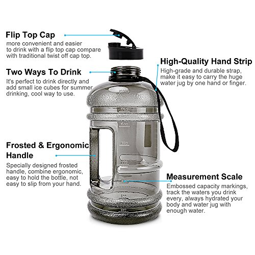ENINE 2.2L Large Sport Water Bottle BPA Free Plastic Big Capacity Leakproof Water Jug Container with Carrying Loop Fitness for Camping Training Bicycle Hiking Gym Outdoor Sports (Black) by ENINE (Image #2)