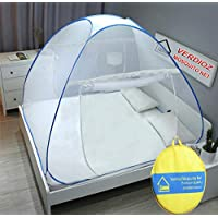 VERDIOZ Mosquito Net Foldable Double Bed | King Size for Baby | Kids | Adult, 100% Ventilation | Visibility with Free Saviours