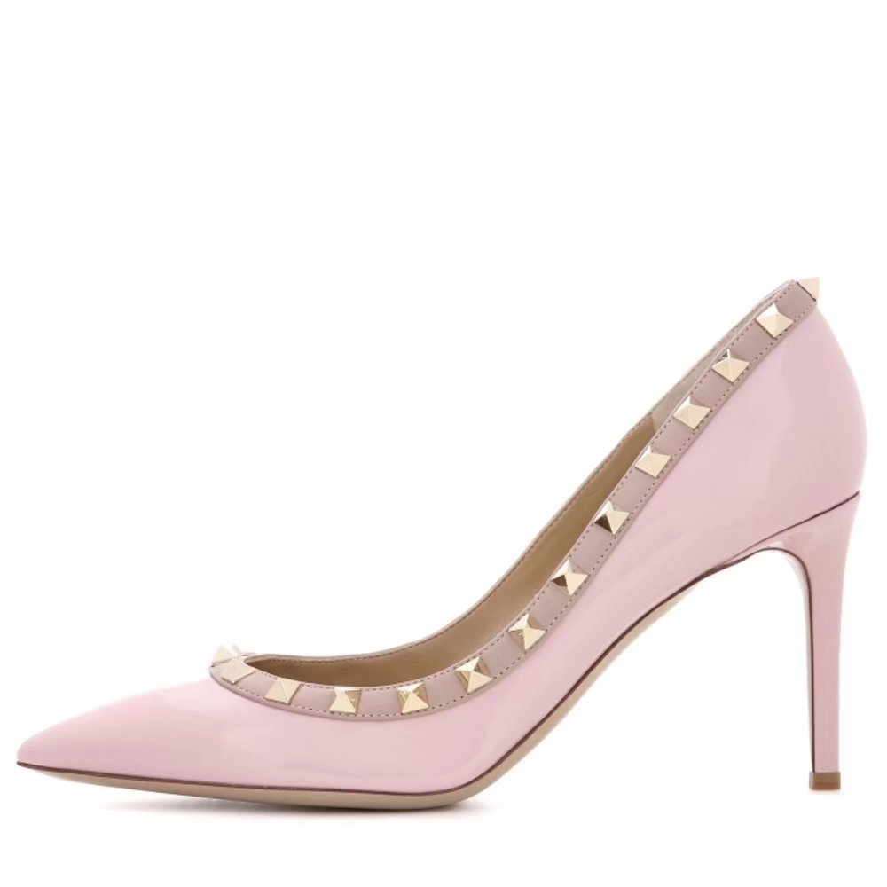 Chris-T Women's Studded Stiletto High Heels Rivets Shoes Pointed Toe Slip On Pumps 5-14 US B07CXR5B82 8.5 B(M) US|Pink