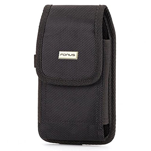 Rugged Canvas Carry Case Holster Metal Belt Clip Side Protective Cover Black for Straight Talk ZTE Quartz - T-Mobile Alcatel Idol 4S - T-Mobile iPhone 6 Plus