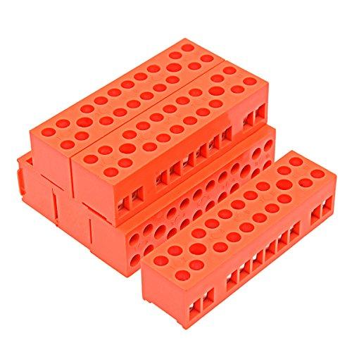 YXQ 10 Position Screw Terminal Strip Block 600V 36A Dual Row Electric Barrier Orange, 6Pcs