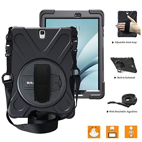 BRAECNstock Galaxy Tab S3 9.7 Case Cover Hybrid Protective Shield Case Cover w/Palm Hand Strap/Shoulder Strap/Kickstand for Samsung Galaxy Tab S3 9.7 T820 Case (Black/Black) (Clearance Samsung S3 Case)