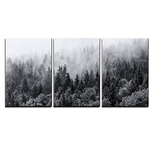 "wall26 - 3 Piece Canvas Wall Art - Misty Forests of Evergreen Coniferous Trees in an Ethereal Landscape - Modern Home Decor Stretched and Framed Ready to Hang - 16""x24""x3 Panels"