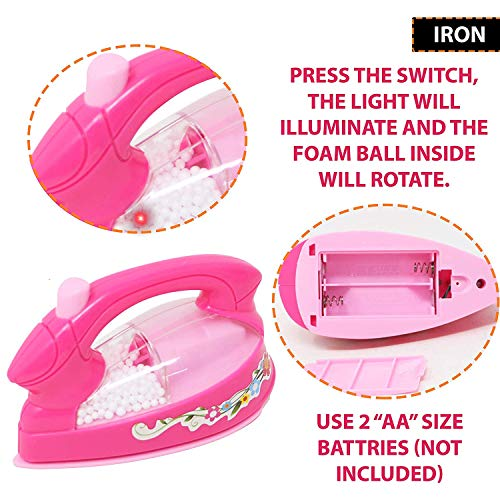 urban festivities battery operated 6 pieces household home appliances play set toys for girls with realistic sound - fan,hair dryer,vacuum cleaner,sewing machine,iron,washing machine-Pink 51slDUYJAoL India 2021