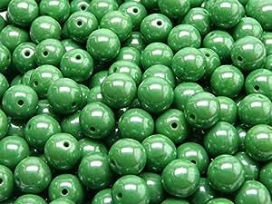 25pcs 8mm Checa Impresión redondas perlas Opaque Green White Luster