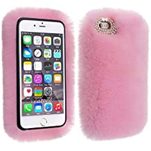 Plush Cover for iPhone Xs max 6.5 inch Case, Businda Cute Bunny Ears Case Luxury Winter Soft Warm Cover Fluffy Furry Rabbit Shockproof Back Bumper with Chic Bling Crystal Diamond- Pink