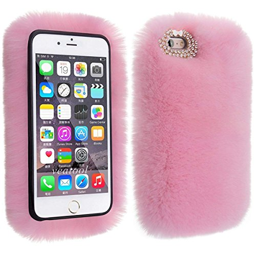 Price comparison product image iPhone 7 Plus Case, MeiLiio Fashion Fuzzy Furry Soft Warm Plush Rabbit Fur Cell Phone Case with Handmade Bling Crystal Rhinestone Back Protector Cover for iPhone 7 Plus / iPhone 8 Plus, Pink