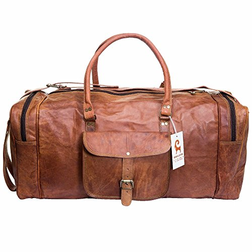 Handmade Leather Travel Duffle Bag Vintage Style Overnight Bag Size 20 Inch by Urban Leather (Image #3)