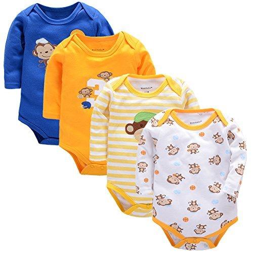 Baby Bodysuit Long Sleeve Romper Jumpsuits 4 Pack 0-9Months Onesies Girls Boys