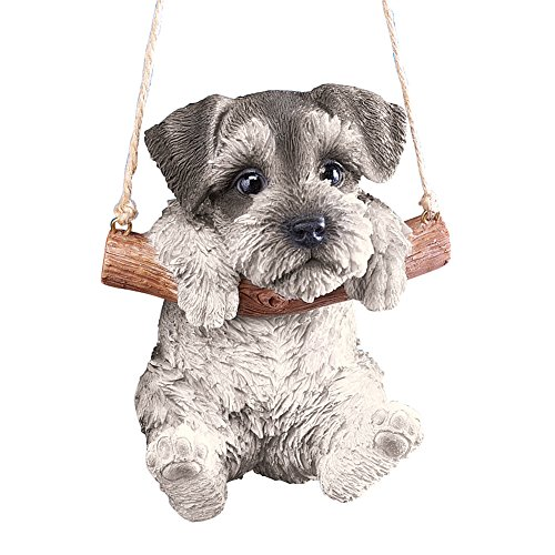 (Hang Around Pets Tree Decoration with 7in Rope for Easy Hanging, Hand Painted Decorative Accent - Gift Ideas for Pet Owners, Schnauzer)