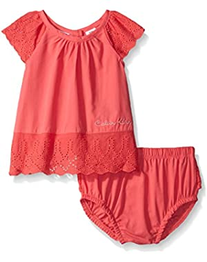 Baby Girls' Peached Poplin with Eyelet Trim Top and Panty
