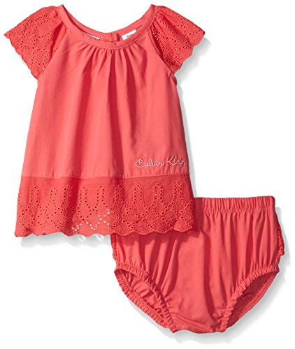 Calvin Klein Baby-Girls Peached Poplin with Eyelet Trim Top and Panty, Red Icing, 3-6 ()