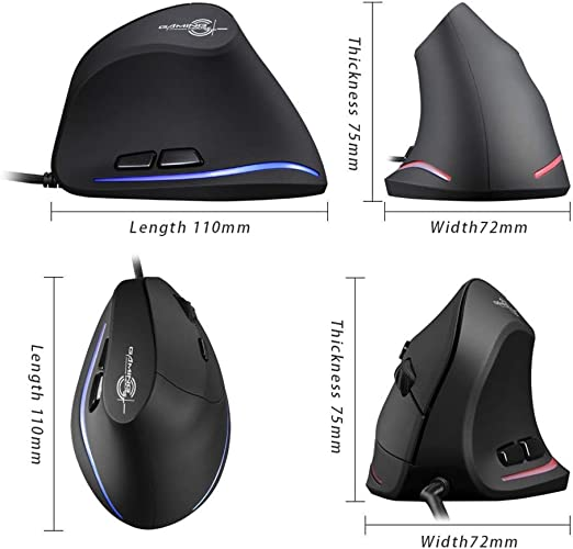 Long-Term Use Without Fatigue. Yeefant Vertical Wired Game Programmable 6 Buttons LED Mouse Mice 3200 DPI Ergonomics Design for Comfortable Touch