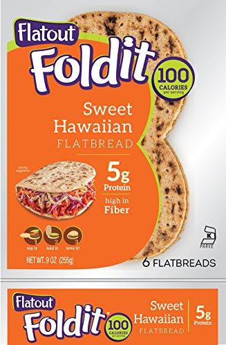 - FLATOUT Flatbread - Foldit SWEET HAWAIIAN ~ High in Fiber (1 Pack of 6 Flatbreads)