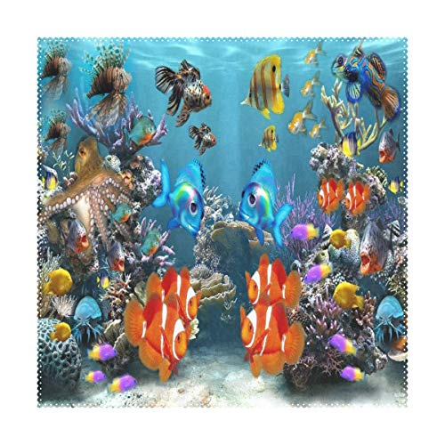 LoveBea Placemats Tropical Fish 3D Screensaver Square Placemats for Dining Table Kids Table Mat 1 Piece ()