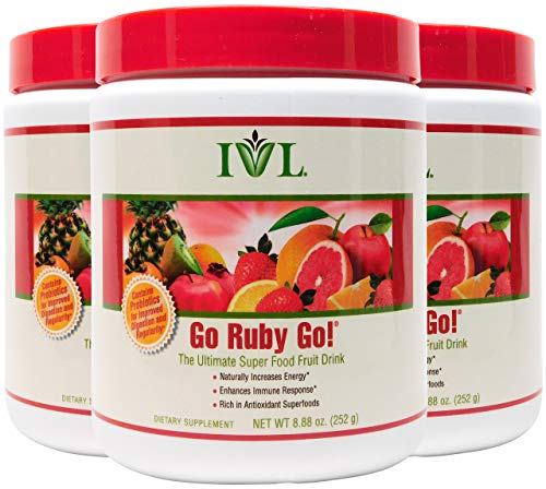 Superfood Powder Go Ruby Go - 42 Fruit and Nutrients Drink Mix in One Glass, Super Antioxidant Supplement - 8.88 oz (Pack of 3)