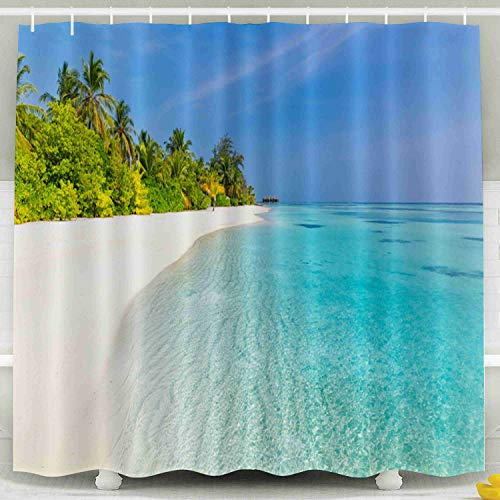 Capsceoll Fabric Shower Curtain, Décor Bathroom Curtain Tranquil Beach Scenery Exotic Tropical Panorama Background Amazing Summer Landscape 72x72 inches with Free Hooks Fabric Bath Shower Curtain