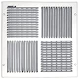 Speedi-Grille SG-1414 CW4 14-Inch by 14-Inch White Ceiling/Sidewall Vent Register with 4 Way Deflection