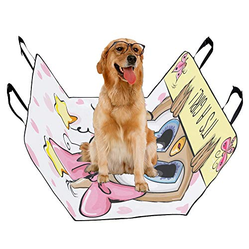 VNASKL Dog Seat Cover Custom Baby Shower Greeting Card Cute Cartoon Printing Car Seat Covers for Dogs 100% Waterproof Nonslip Durable Soft Pet Car Seat Dog Car Hammock for Cars ()