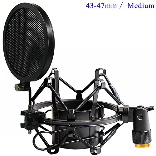 Etubby 43-47mm Microphone Shock Mount with Double Mesh Pop Filter & Screw Adapter, Adjustable Anti Vibration High Isolation Metal Mic Mount Holder Clip for Diameter of 43-47mm Microphone ()