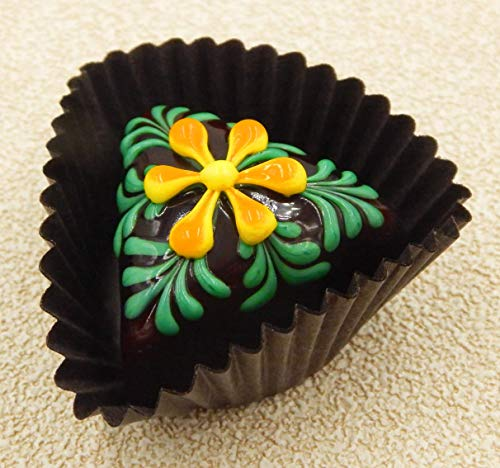 (Lemon/Mango Flower Triangle Art Glass Chocolate)