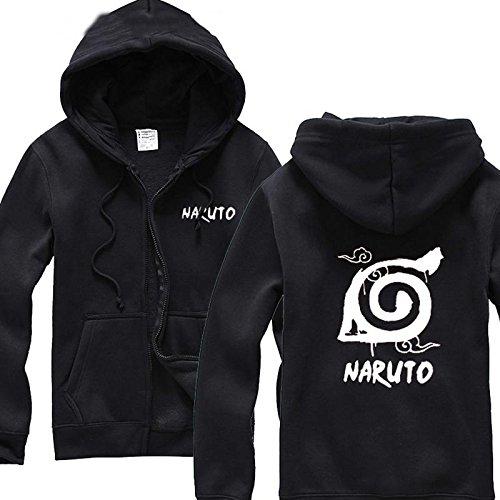 Costume Cosplay Zabuza (UU-Style Naruto Shippuden Distressed Leaves Symbol Crewneck Sweatshirt Hoodie Plus Velvet Zip Outwear Jacket)