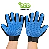 Pet Grooming Gloves For Cat Dog horse - Deshedding Gloves with soft Rounded Nubs & Adjustable Wrist Strap - Efficient Pet Hair Remover Mitt - Enhanced Five Finger Design Pets Brushes - One Pair